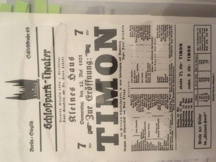 Theaterzettel vom 12. Mai 1921